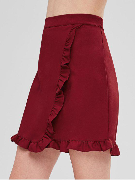 Minifalda con ribete de volantes - Vino Tinto M