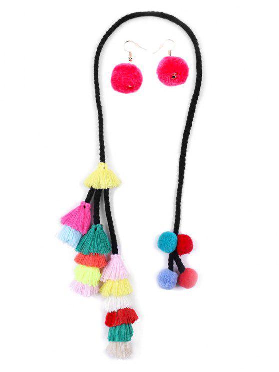 womens Tassel Fuzzy Balls Necklace Earrings Set - MULTI