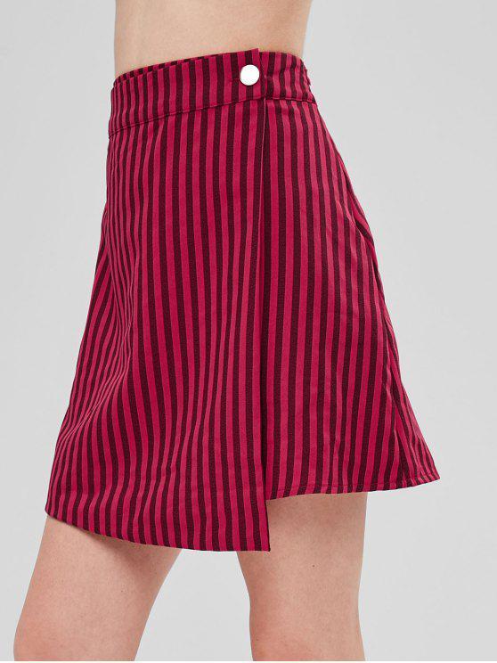 latest Striped Asymmetric Overlap Skirt - RED S