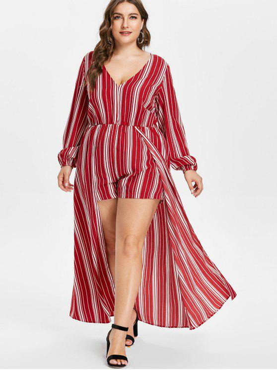 affordable ZAFUL Plus Size Striped Overlay Romper - MULTI 4X