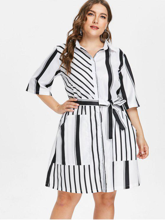 affordable Plus Size Striped Belted Shirt - WHITE L