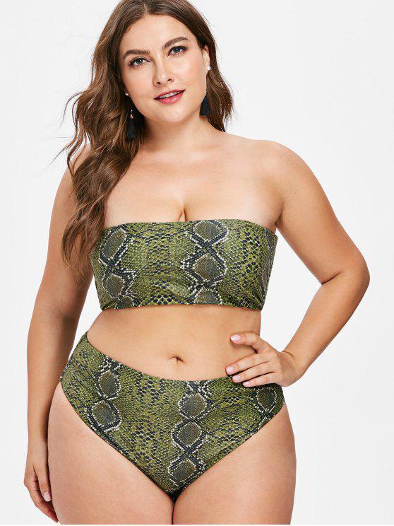 affordable Snakeskin Bandeau Plus Size Bikini Set - FERN GREEN 3X