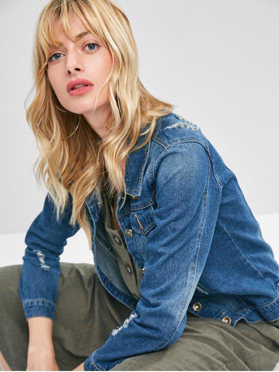 buy Ripped Patchwork Denim Jacket - DENIM DARK BLUE XL