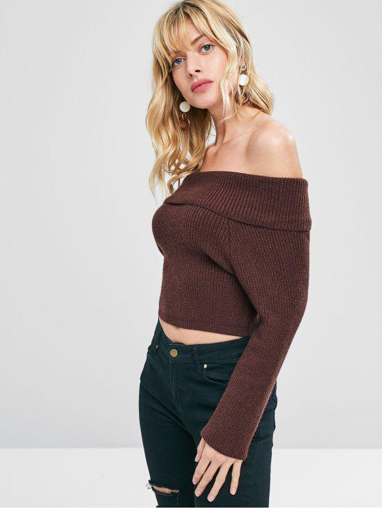 hot Knit Off The Shoulder Pullover Sweater - DEEP BROWN M