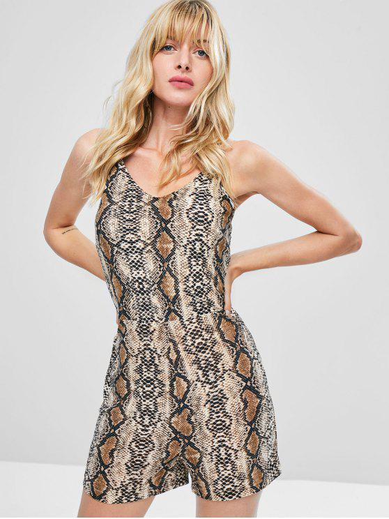 trendy Lace Up Snake Skin Romper - LEOPARD M