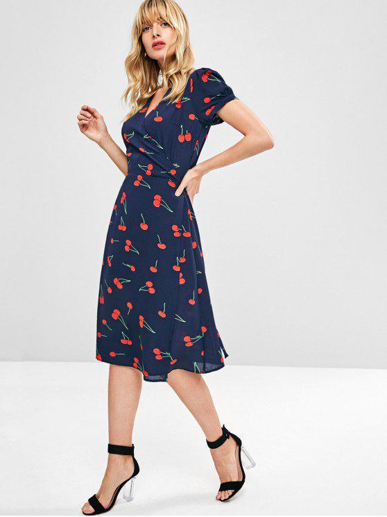 fashion Cherry Print Wrap Midi Dress - MIDNIGHT BLUE L