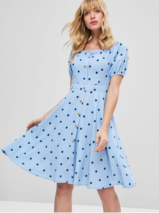 Vestido a la rodilla con estampado de lunares - Azul Marino M