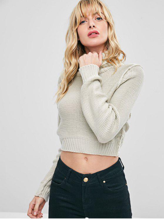 lady Cropped Turtleneck Sweater Jumper - WARM WHITE S