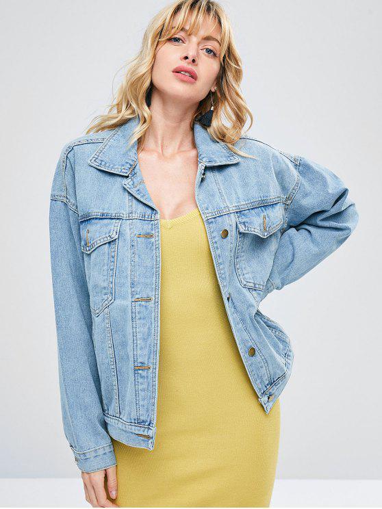 womens Embroidered Denim Boyfriend Jacket - BLUE ANGEL S