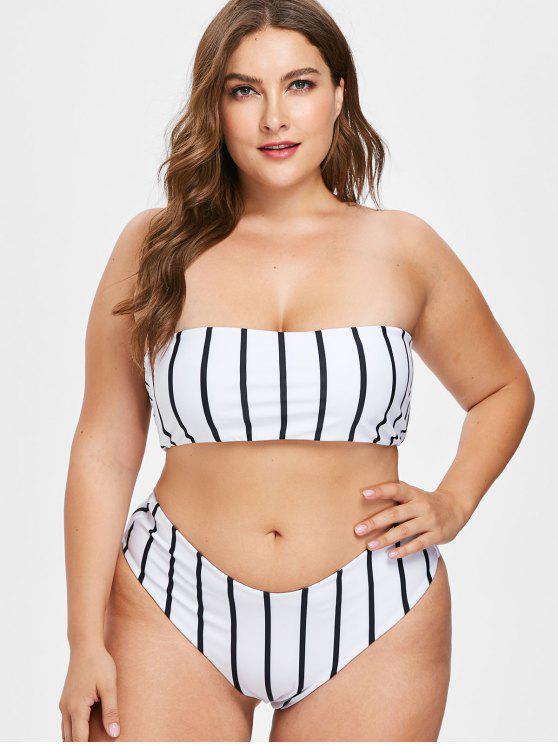 91bc128af 23% OFF  2019 Plus Size Striped Bandeau Bikini Set In WHITE