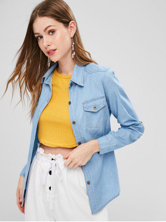 Flap Bolsos Camisa Chambray - Jeans Azul L