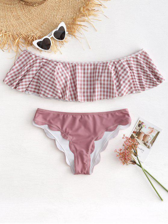 lady Scalloped Off Shoulder Gingham Bikini Set - PINK BOW L