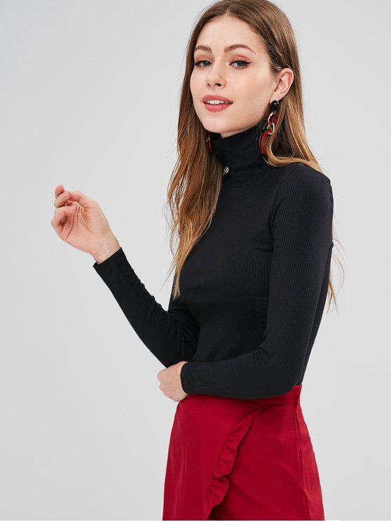 Camiseta ajustada acanalada de cuello alto - Negro S