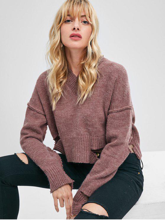 chic Oversize V Neck Cutout Sweater - DULL PURPLE ONE SIZE