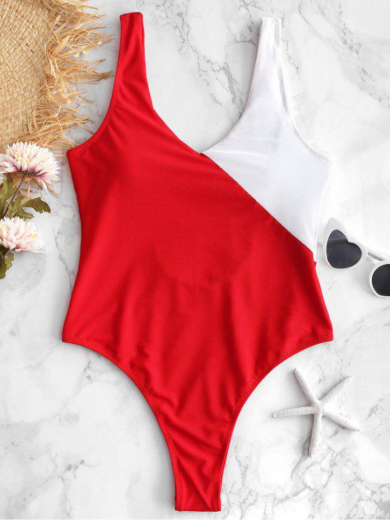 shops Textured Color Block One Piece Swimsuit - RED L