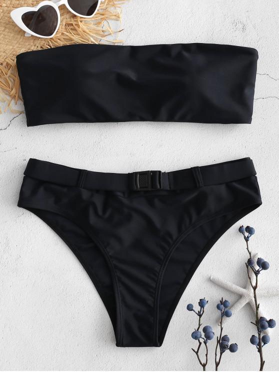 shop High Cut Belted Bandeau Bikini Set - BLACK M