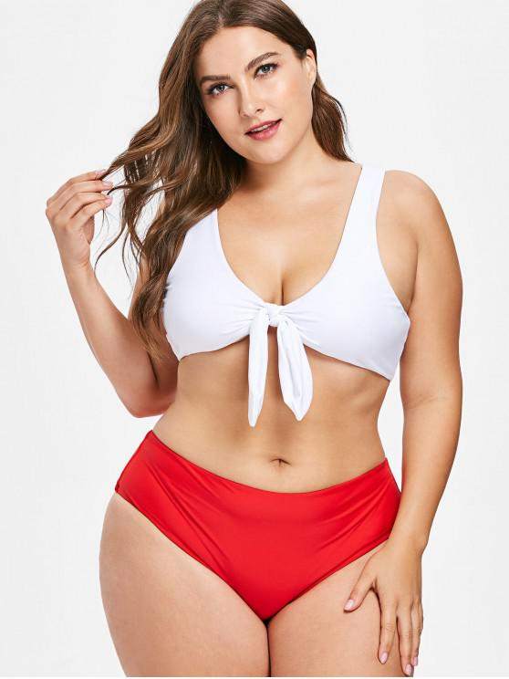 ladies Knot Plus Size Tank Bikini Set - LOVE RED 2X