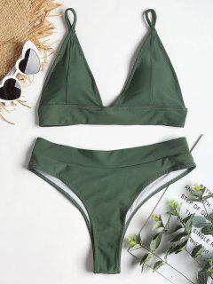 Lace-up Back High Leg Bikini - Dark Sea Green L
