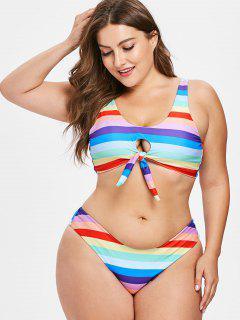 Plus Size Colored Stripes Keyhole Bikini Set - Multi L