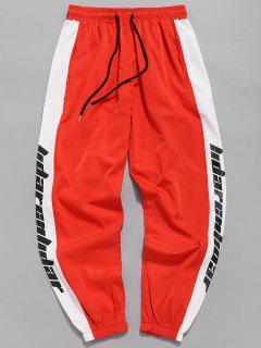 Pantalon De Jogging Imperméable à Lettre Rayure Latérales - Orange Vif M