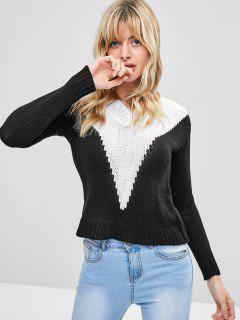 Zweifarbiger Pullover - Schwarz Xl