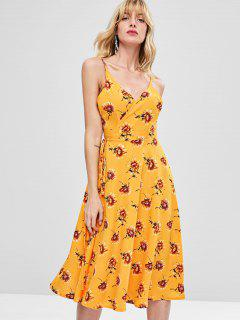 Floral Wrapped Cami Dress - Bee Yellow M