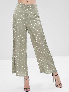 Polka Dot Palazzo Wide Leg Pants - Green L