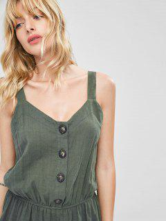 Half Button Cropped Wide Leg Jumpsuit - Army Green S