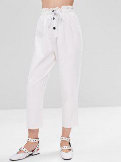 Half Buttoned Drawstring Straight Pants - White M