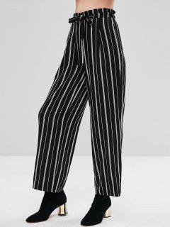 High Waist Striped Wide Leg Pants - Black L