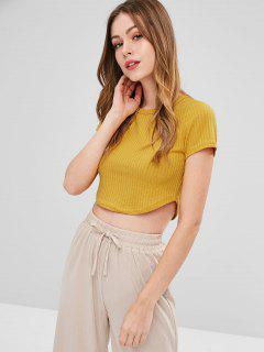 Cropped Ribbed Knit Top - Bright Yellow M