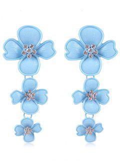 Rhinestone Flowers Design Drop Earrings - Blue Lagoon