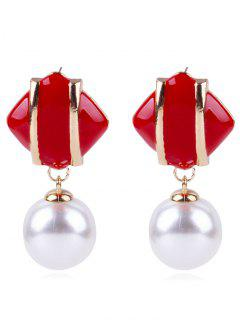Geometric Design Artificial Pearl Earrings - Chestnut Red