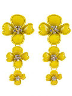 Rhinestone Flowers Design Drop Earrings - Sun Yellow