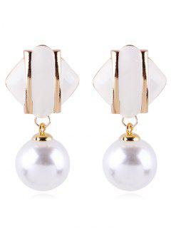 Geometric Design Artificial Pearl Earrings - White