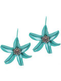 Flower Design Drop Hook Earrings - Macaw Blue Green