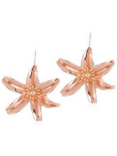 Flower Design Drop Hook Earrings - Rose Gold