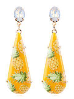 Pineapple Printed Teardrop Drop Earrings - Corn Yellow