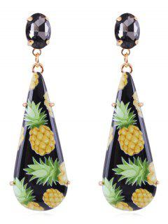 Pineapple Printed Teardrop Drop Earrings - Black