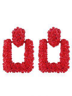 Hollow Geometric Shape Drop Earrings - Chestnut Red