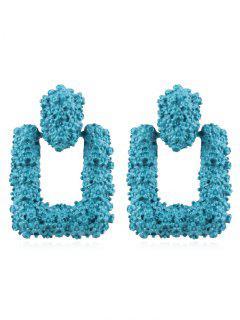 Hollow Geometric Shape Drop Earrings - Macaw Blue Green