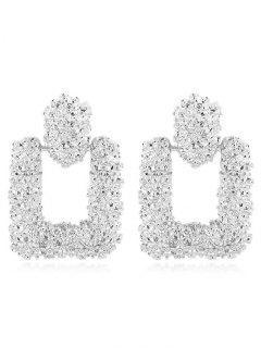 Hollow Geometric Shape Drop Earrings - Silver