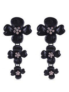Rhinestone Flowers Design Drop Earrings - Black