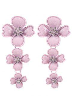Rhinestone Flowers Design Drop Earrings - Light Pink