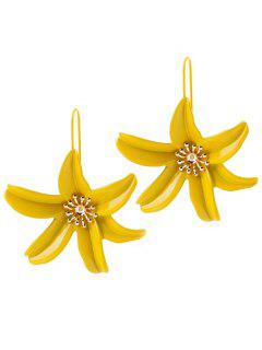 Flower Design Drop Hook Earrings - Yellow