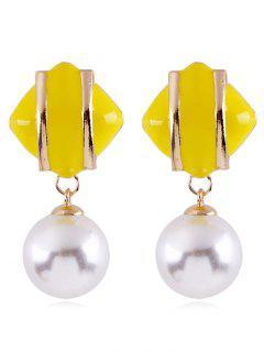Geometric Design Artificial Pearl Earrings - Yellow