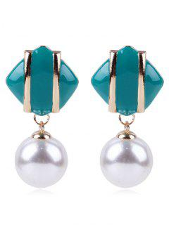 Geometric Design Artificial Pearl Earrings - Turquoise
