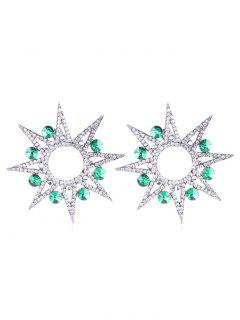 Hollow Sunflower Shape Rhinestone Earrings - Light Sea Green