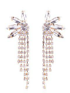Pendientes De Cadena Con Borla De Diamantes De Imitación - Oro