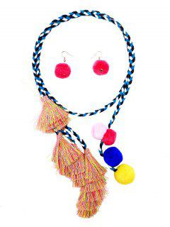 Fuzzy Ball Tassel Necklace With Earrings - Multi